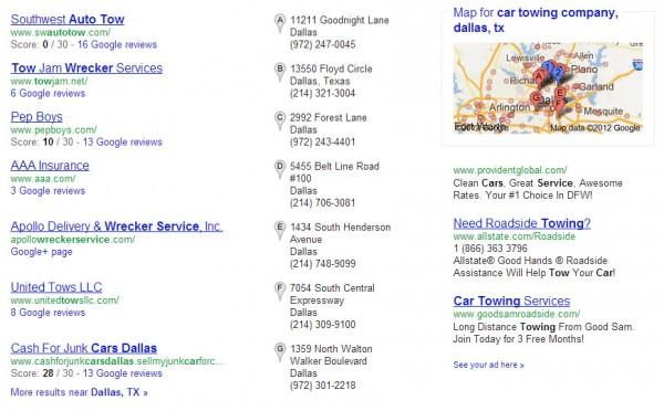Remolque de empresas y calificaciones en los resultados de búsqueda local de Google