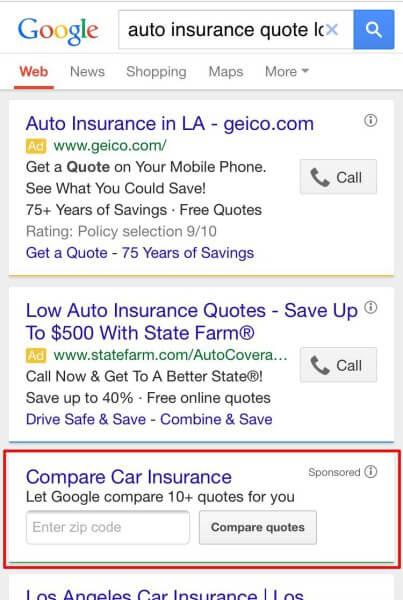 google compara cotizaciones de seguros de auto