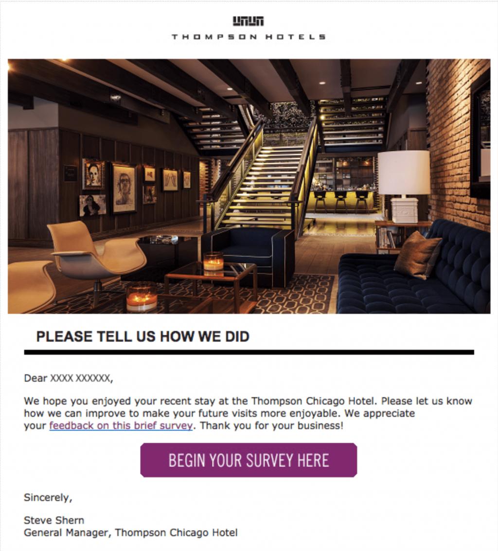 """Cómo solicitar comentarios de los clientes por correo electrónico: Correo electrónico de """"Gracias por su estadía"""" de Thompson Hotel"""