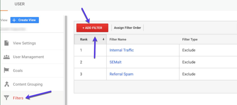 Agregue un nuevo filtro a GA (y asígnele un nombre descriptivo)