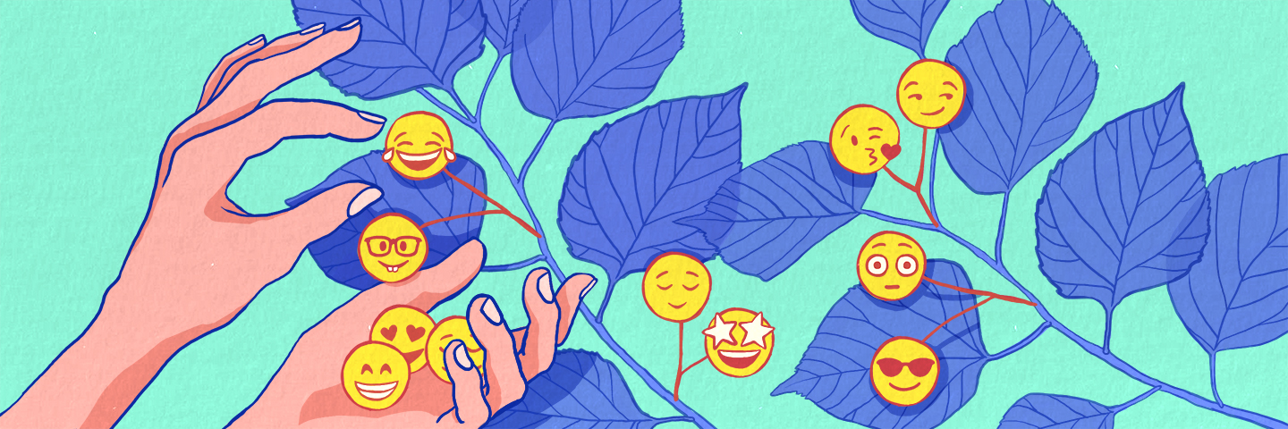 illustration of emojis being picked off of a plant