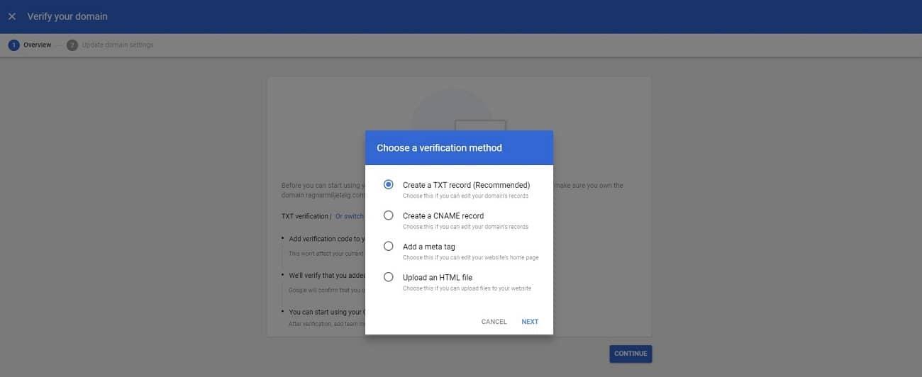 configurar la cuenta de g suite verificar el dominio 2