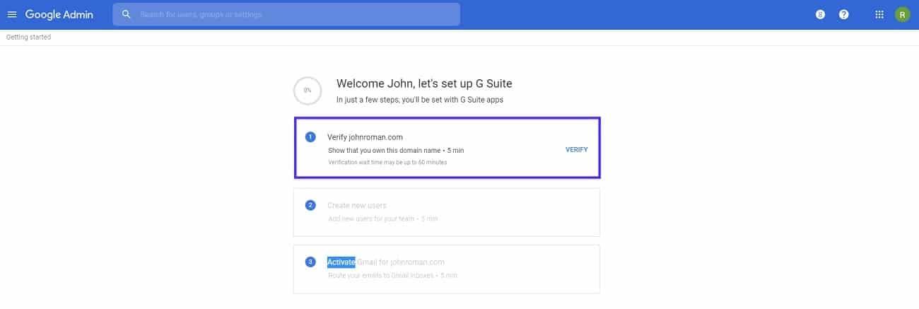 configurar cuenta de g suite verificar dominio