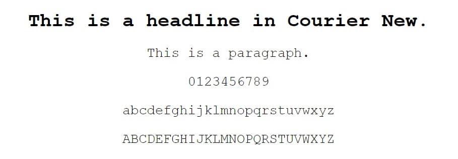 courier new font - fuentes seguras para la web