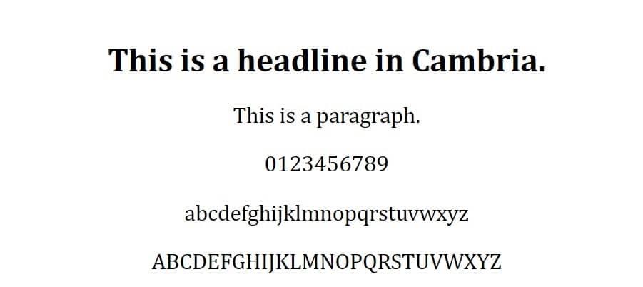 cambria font - fuentes web seguras
