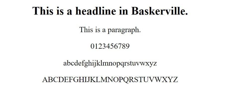 fuente baskerville - fuentes web seguras