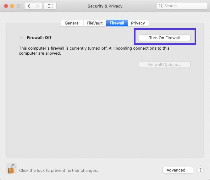Aplicación de firewall en macOS