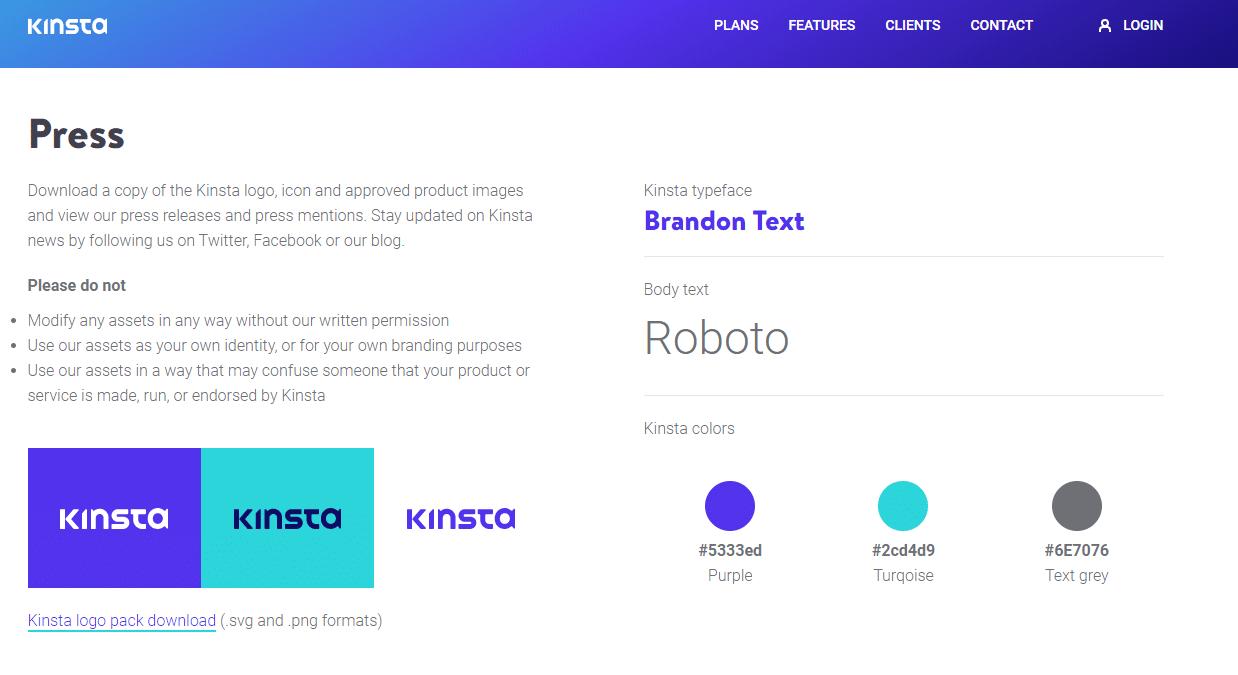 esquema de color kinsta