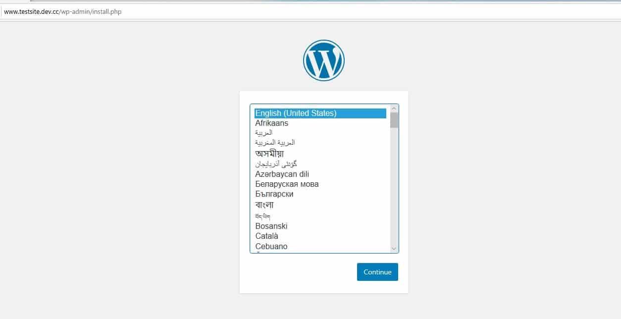 nuevo sitio de wordpress