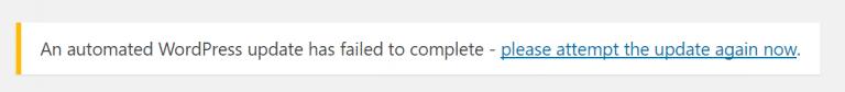 la actualización de wordpress falló 768x84 1