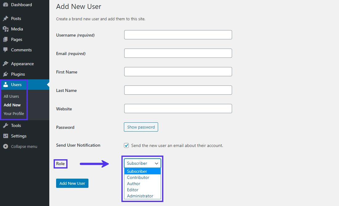 Roles de usuario de WordPress