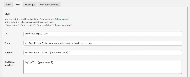 Pestaña de correo electrónico en formularios de contacto