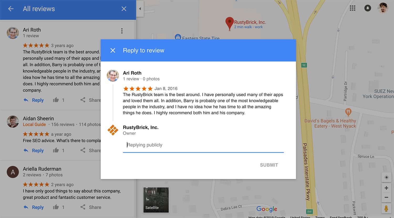 Los propietarios de empresas ahora pueden responder a las reseñas en el escritorio de Google Maps