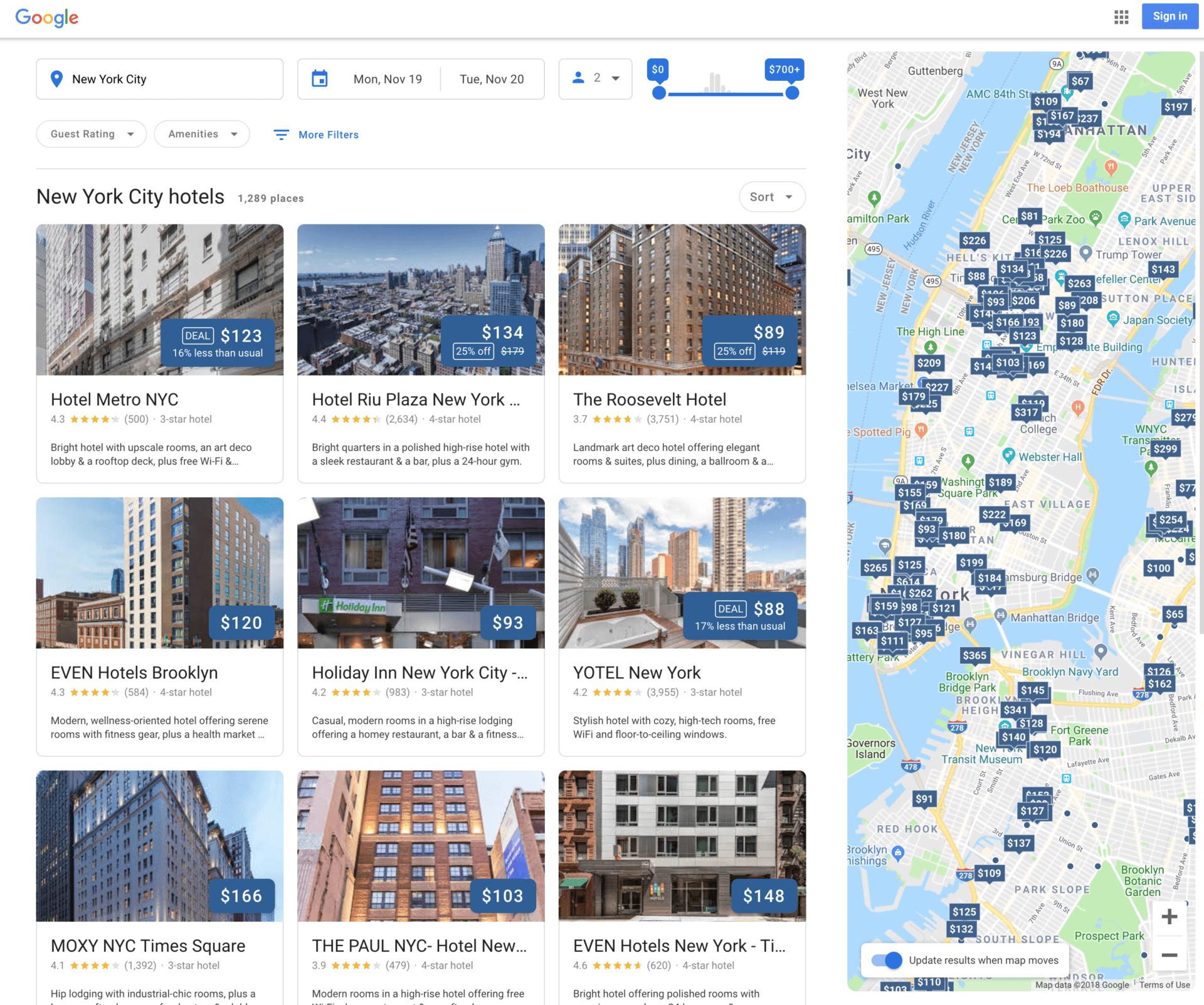 Google lanza un nuevo diseño para los resultados de búsqueda de hoteles