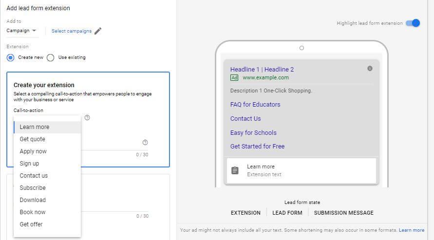Capte clientes potenciales con la última prueba de extensión de anuncios de Google Ads