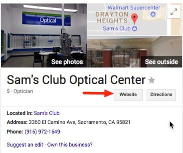 Centro óptico Sams Club