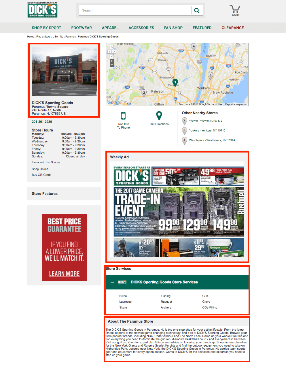 Página de inicio de la tienda de artículos deportivos de Dick
