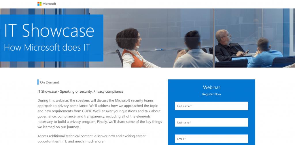 Página de inicio del seminario web de Microsoft