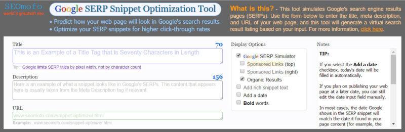 SEOmofo Herramienta de optimización de fragmentos de SERP de Google