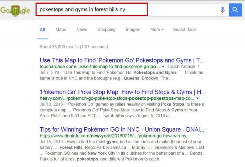 Marketing de búsqueda local de Pokemon Go