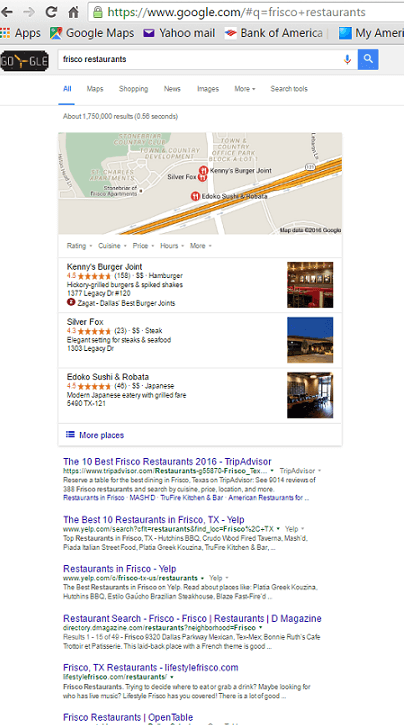 Búsqueda de Google de restaurantes de Frisco