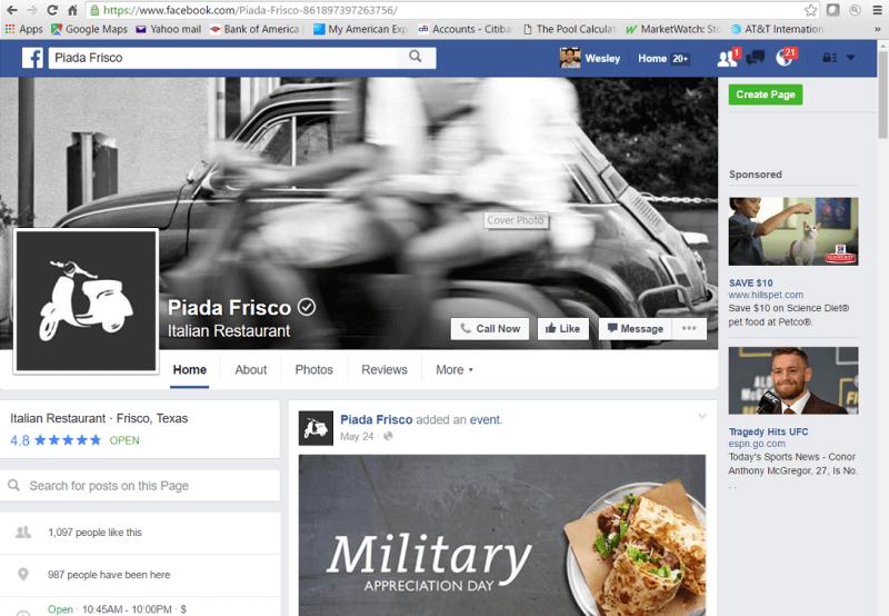 Página de Facebook de Piada Frisco