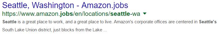 Amazon - Seattle - Resultado SERP