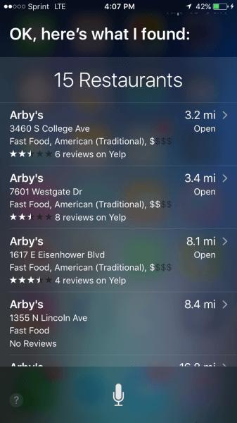 Arbys búsqueda local a siri