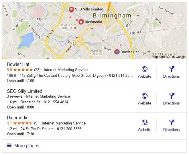 Resultados de búsqueda local para SEO Birmingham