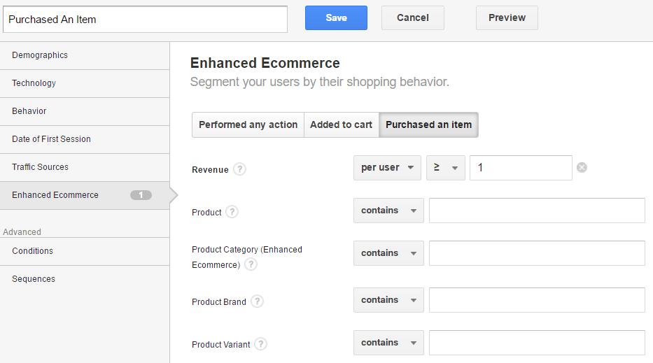 Segmento personalizado en Google Analytics: artículo comprado