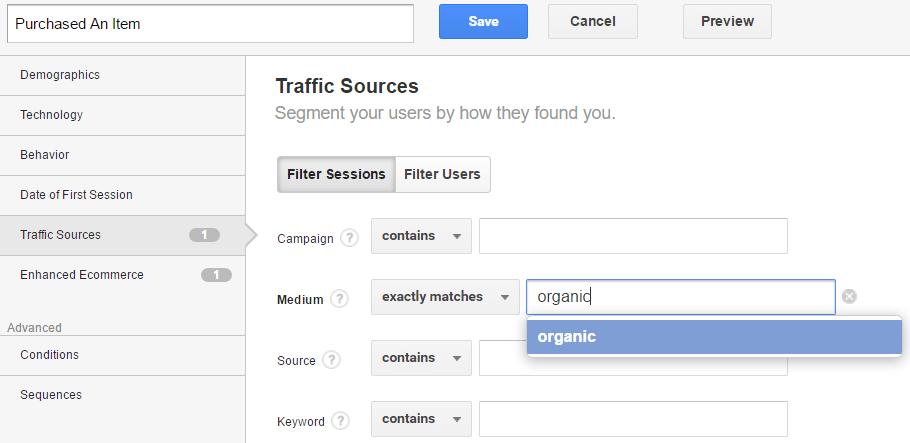 Segmento personalizado en Google Analytics: fuente de tráfico