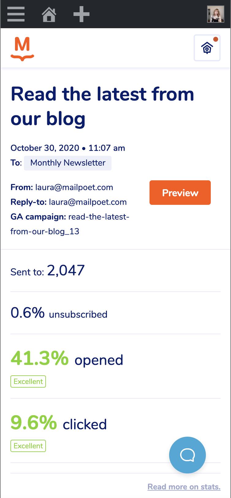Versión móvil de la página de estadísticas en MailPoet