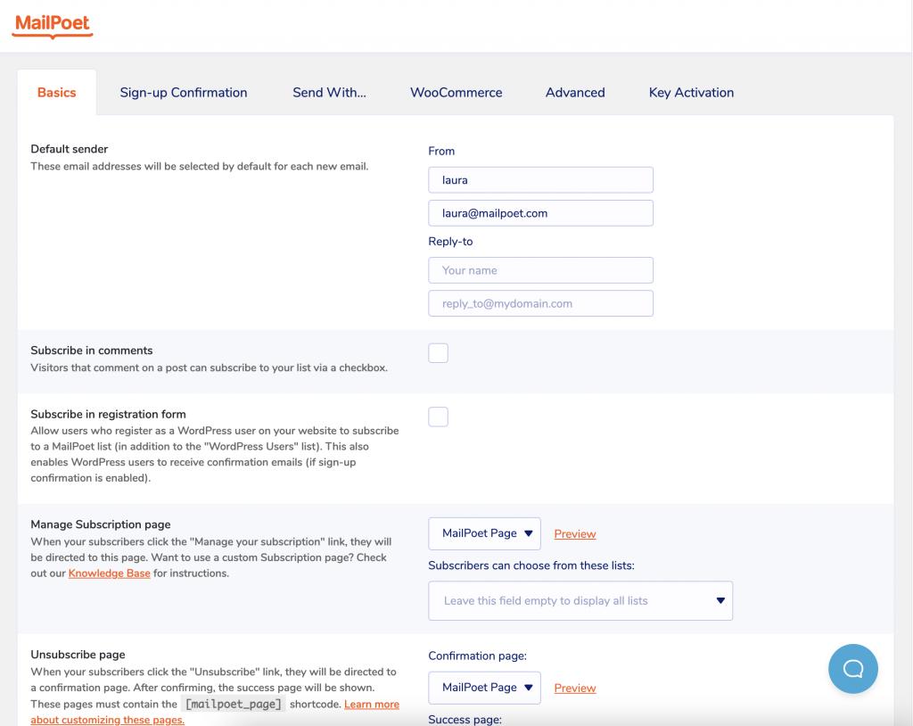 Nuevo diseño de la página de configuración en MailPoet