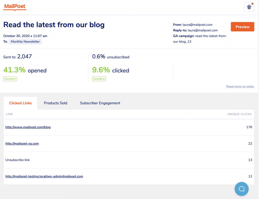 Nuevo diseño de la página de estadísticas en MailPoet