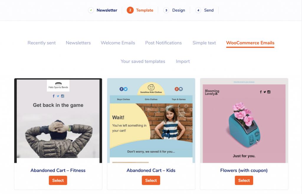Nuevo diseño de la página de plantillas de correo electrónico en MailPoet