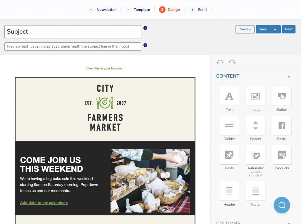 Nuevo diseño de editor de correo electrónico en MailPoet