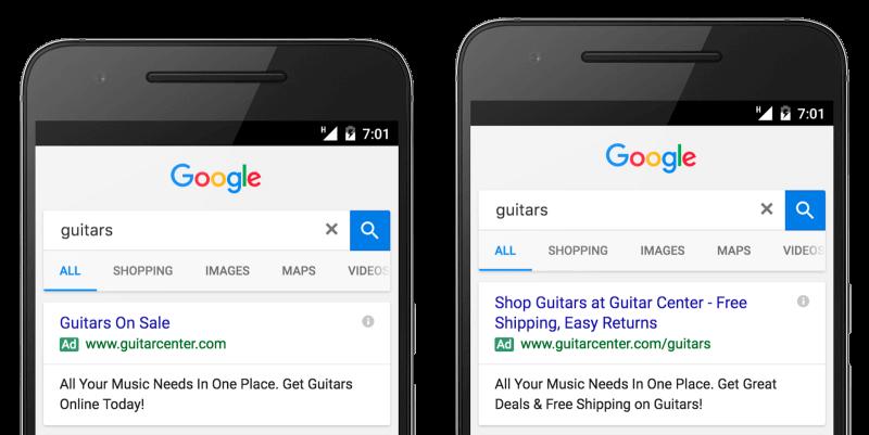 anuncios de texto expandidos de Google se publican