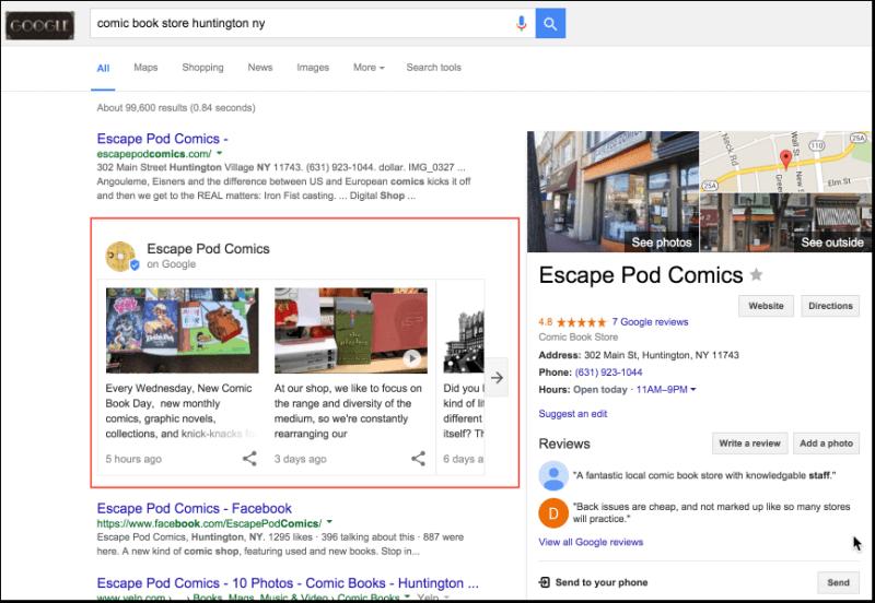 Consulta de categoría empresarial con publicaciones de Google