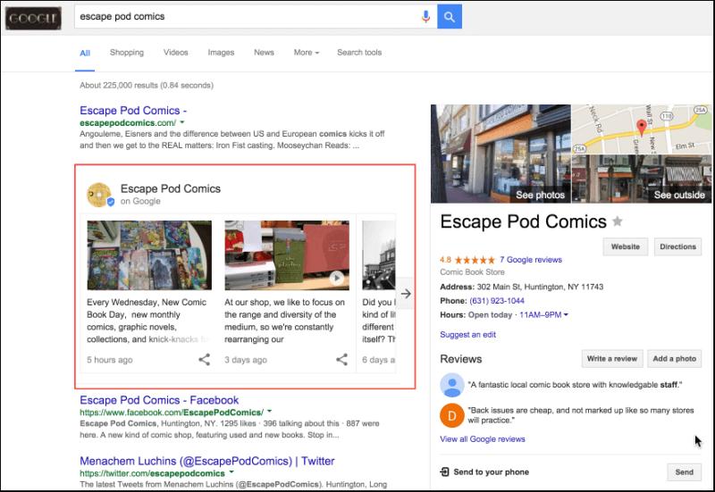 Consulta de nombre de empresa con publicaciones de Google
