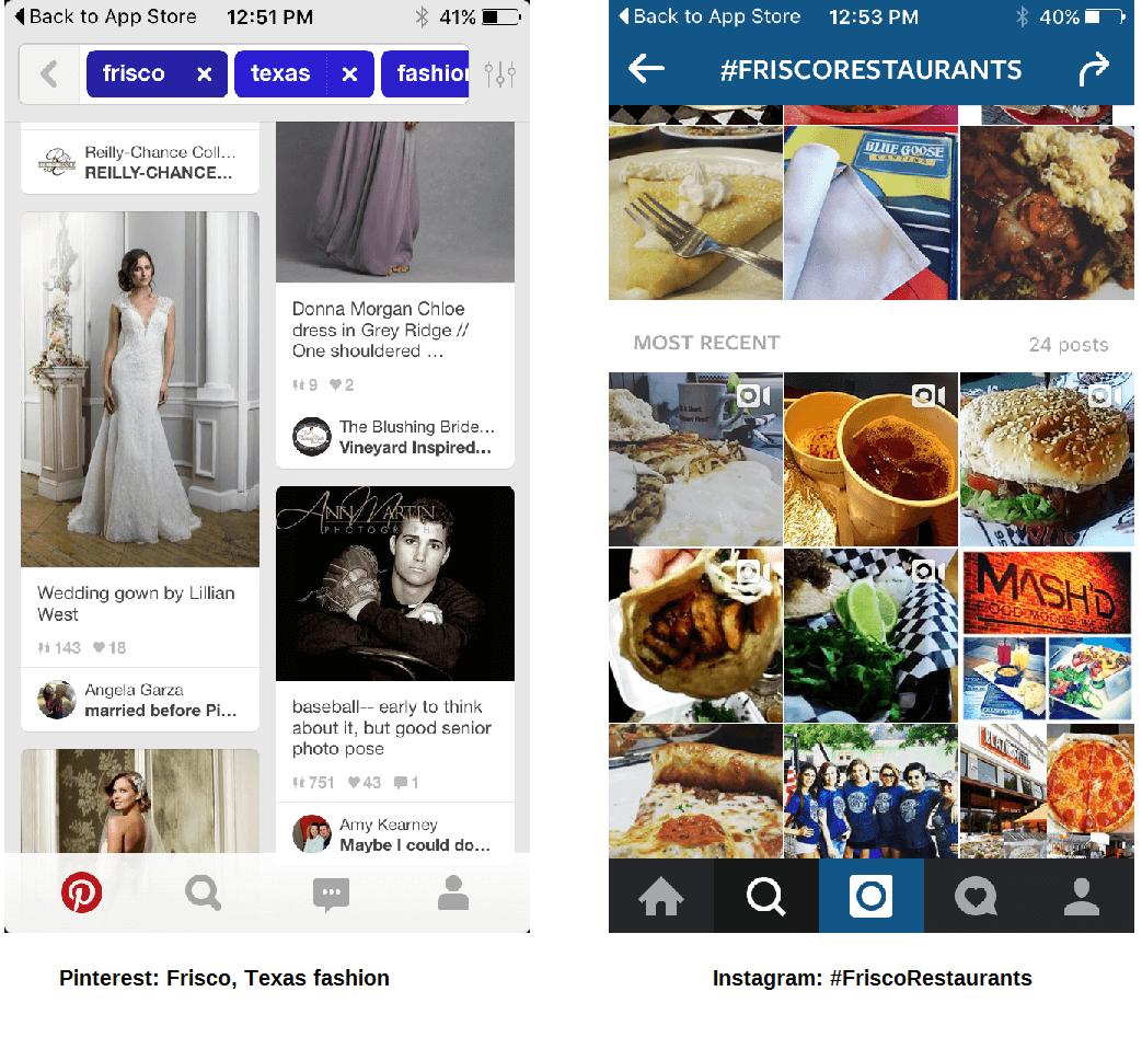 Aplicaciones móviles de Pinterest e Instagram