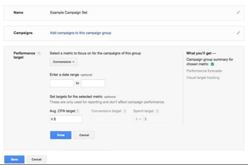 Configuración de objetivos de grupos de campañas de adwords