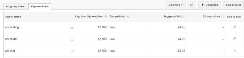 Planificador de palabras clave de Google para la prueba de API