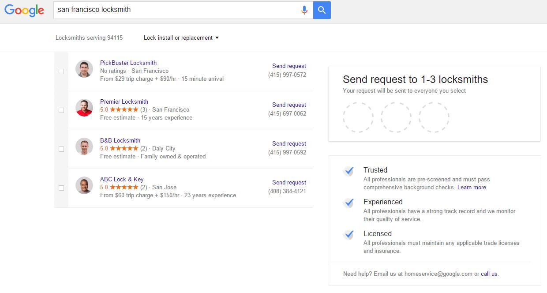 página de envío de anuncios de servicios para el hogar google