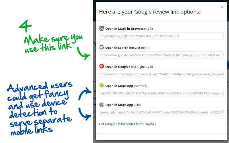cómo obtener un enlace para las reseñas de Google