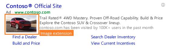 extensiones de imagen de anuncios de Bing con una imagen