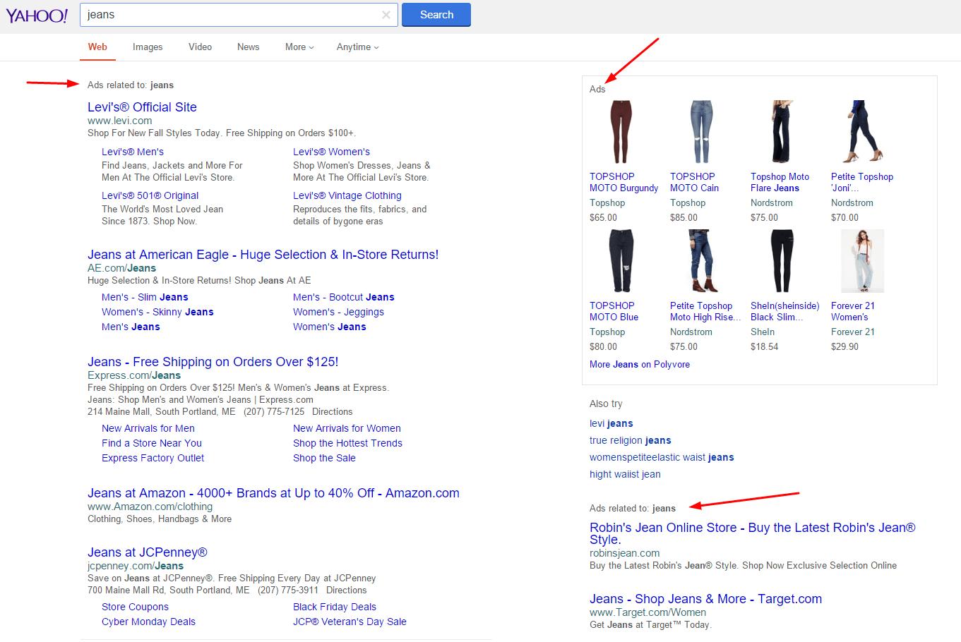 divulgaciones de anuncios de búsqueda de yahoo