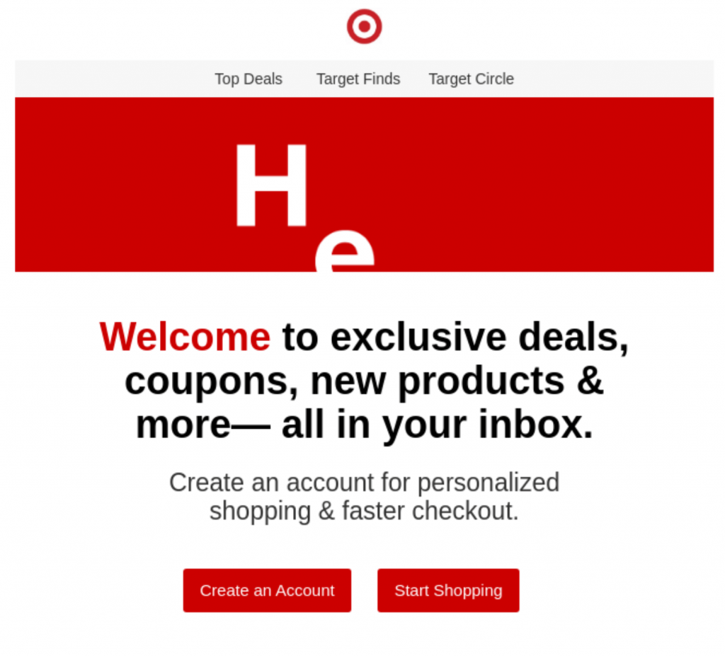 Correo electrónico de bienvenida de Target