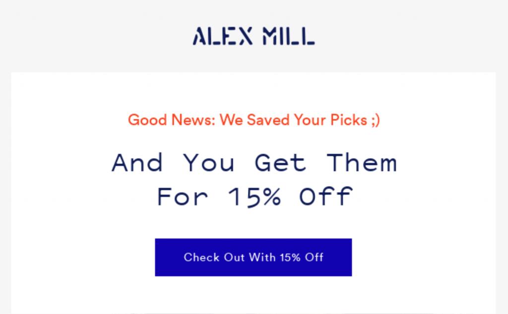 Respuestas automáticas de WordPress: Alex Mill abandonó el correo electrónico del carrito