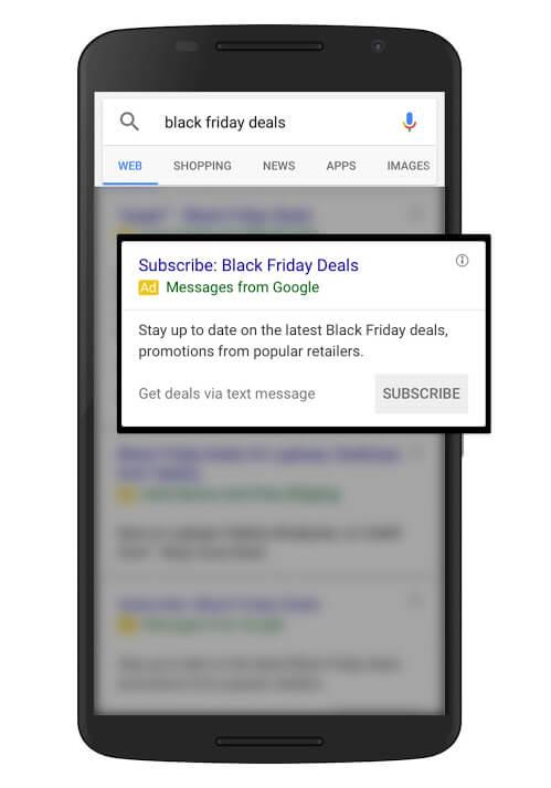 anuncios para alertas de texto de ofertas de vacaciones de google