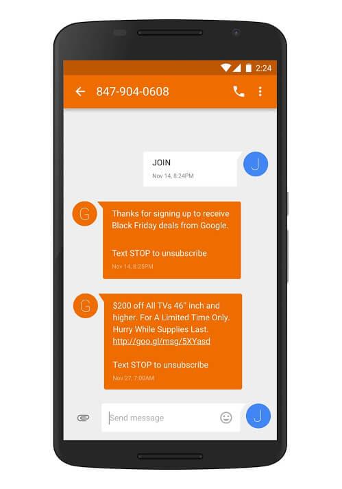 alertas de texto de oferta de vacaciones de google